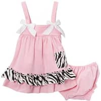 Wenchoice Baby Girls Pink Zebra Bow Ruffles Swing Top Set