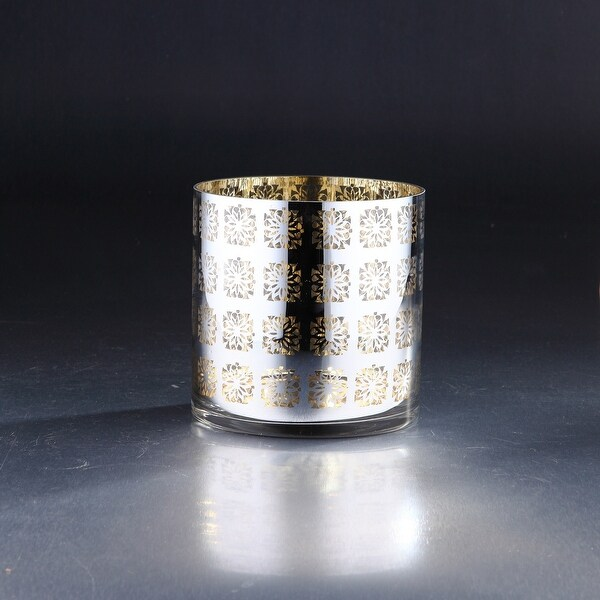 "6"" Metallic Gold and Silver Cylinder Hurricane Glass Vase Candle Holder - N/A"