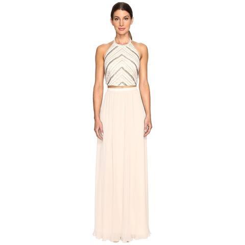 Aidan Mattox Women's Halter Full Length Crop Top Champagne Dress