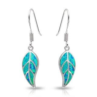 Bling Jewelry Synthetic Blue Opal Inlay Nature Leaf Dangle Earrings 925 Silver
