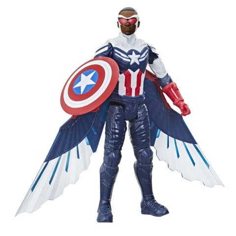 Marvel Studios Avengers Titan Hero Series Captain America Action Figure, 12-Inch Toy, Includes Wings, For Kids Ages 4