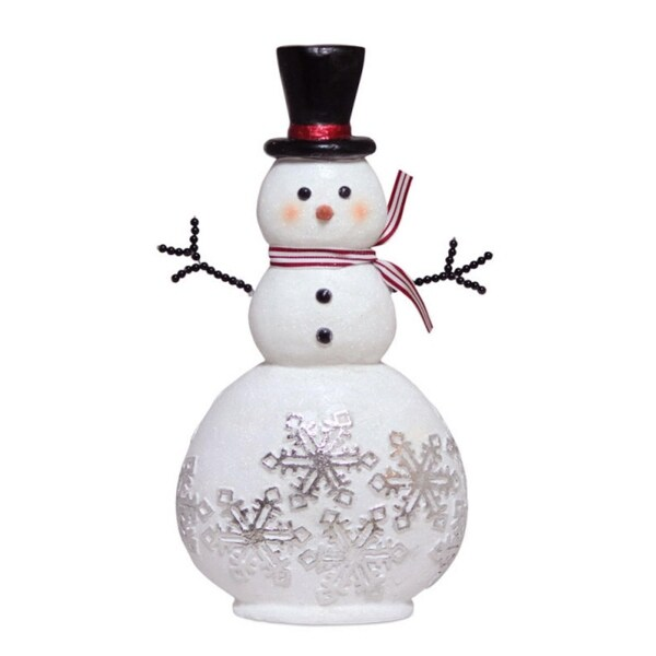 """15"""" Glittered Snowman Adorned with Snowflakes Christmas Table Top Decoration - WHITE"""