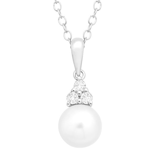 Freshwater Pearl & 1/8 ct White Topaz Pendant in Sterling Silver