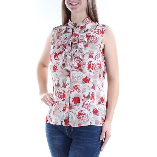 eb82d40582 Womens Beige Floral Sleeveless Mandarin Collar Button Up Top Size M