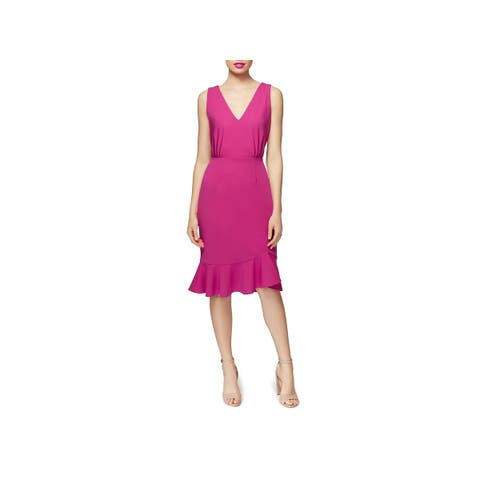 10472201733 Betsey Johnson Womens Party Dress Ruffle Hem V-Neck