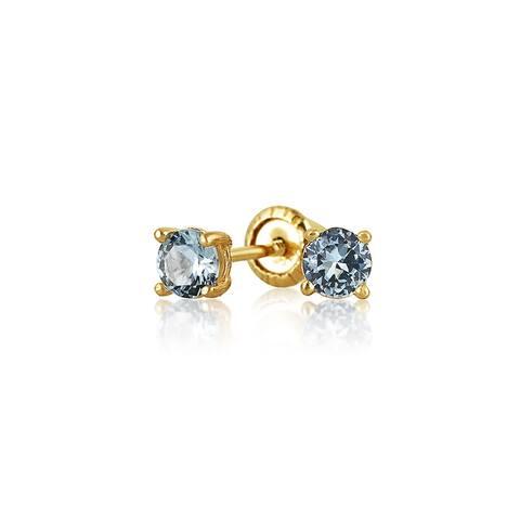 Tiny Imitation Gemstone AAA CZ Solitaire Stud Earrings Gold Screwback