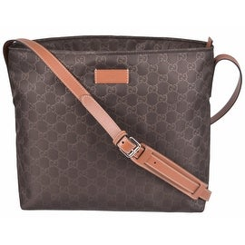 New Gucci 308840 Brown Nylon GG Guccissima Crossbody Messenger Purse Bag