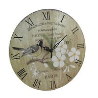 Vintage Style Bird and Paris Postcard Print Floral Wall Clock