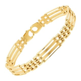Just Gold Men's Panther Link Chain Bracelet in 10K Gold - YELLOW