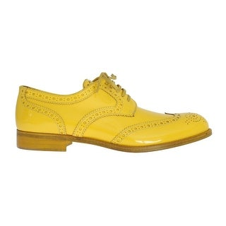 Dolce & Gabbana Dolce & Gabbana Yellow Leather Oxford Broques Flats Shoes