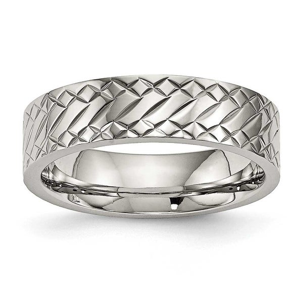 Stainless Steel Polished Textured Ring (6 mm) - Sizes 7 - 13