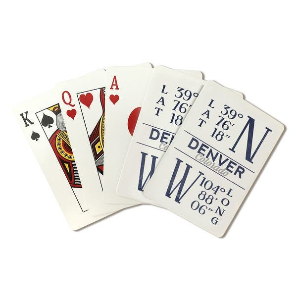 shop denver colorado latitude longitude blue lantern press artwork playing card deck 52 card poker size with jokers overstock 15850396 overstock com