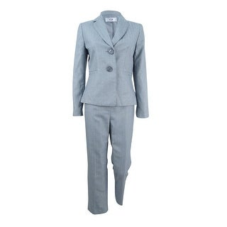 Le Suit Women's Petite Two-Button Pantsuit - silver/navy