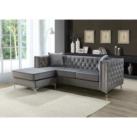 Paige Velvet Tufted Sofa with Chaise