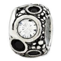 Italian Sterling Silver Reflections Black & White Swarovski Elements Bead