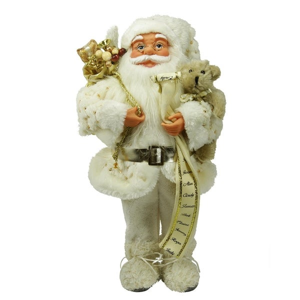 "16"" Winter Wonderland Nordic Santa Claus Christmas Table Top Figure - WHITE"