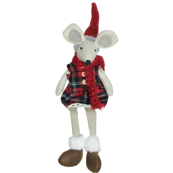 """17"""" Plush Red Plaid Sitting Christmas Girl Mouse with Dangling Legs Decoration - WHITE"""