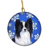 Papillon Winter Snowflakes Holiday Christmas Ceramic Ornament