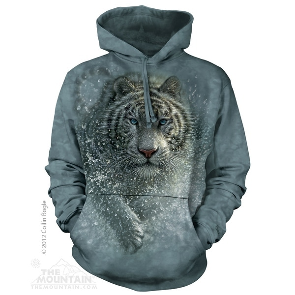 The Mountain Majestic White Tiger Screenprinted Hoodie Tie-Dyed