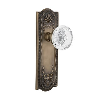"Nostalgic Warehouse MEACME_PRV_234_NK  Vintage Crystal Meadows Privacy Door Knob Set with Meadows Rose and 2-3/4"" Backset"