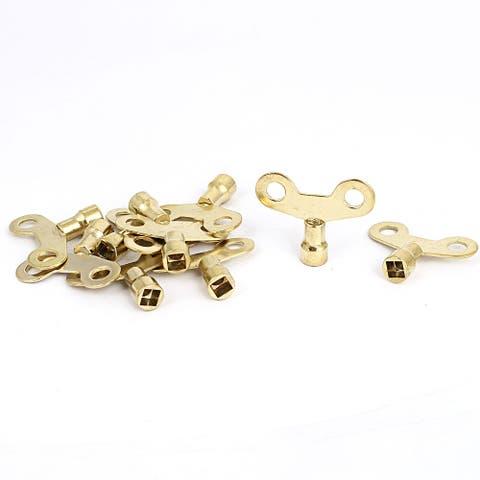 """6mm x 6mm Socket Hole Water Tap Faucet Key Knob Switch Gold Tone 10Pcs - Gold Tone - 1.75""""x 1.4"""" x 0.4""""(L*W*T)"""