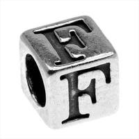 Lead-Free Pewter Alphabet Bead, Letter 'F' 5.5mm Cube, 1 Piece, Antiqued Silver