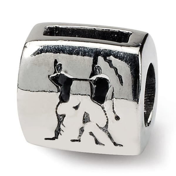 Sterling Silver Reflections Gemini Zodiac Antiqued Bead (4mm Diameter Hole)