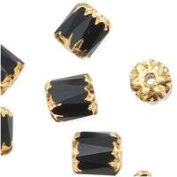 Czech Cathedral Glass Beads 6mm Matte Jet Black/Gold Ends (25)