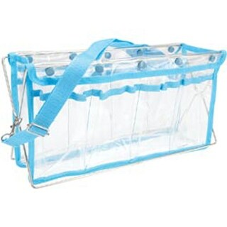 "Clear W/Turquoise Trim - Deluxe Handy Caddy 14""X7""X5"""