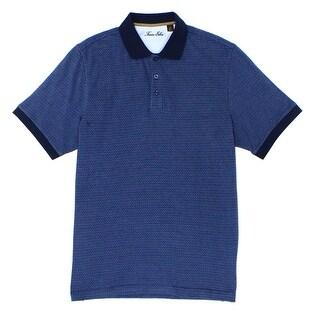 Tasso Elba NEW Blue Totem Mens Size XL Houndstooth Knit Polo Shirt