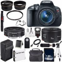 Canon EOS Rebel T5i 18 MP CMOS Digital SLR Camera w/EF-S 18-55mm Lens (International Model) + Canon EF 50mm SLR Lens Bundle
