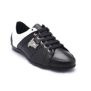 Versace Collections Men's Leather Medusa Low Top Sneaker Shoes Black White