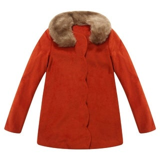 Richie House Girls' Overcoatoat with Fur Collar with Bow