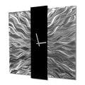 Statements2000 Black / Silver 24-inch Metal Hanging Wall Clock - Elegant Mechanism - Thumbnail 2