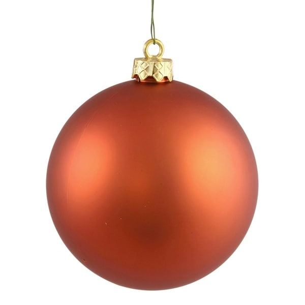 "Matte Burnished Orange UV Resistant Commercial Drilled Shatterproof Christmas Ball Ornament 2.75"" (70mm)"