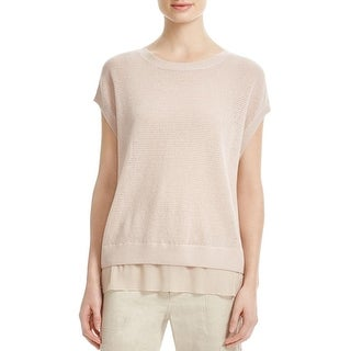 Vince Womens Blouse Textured Tiered