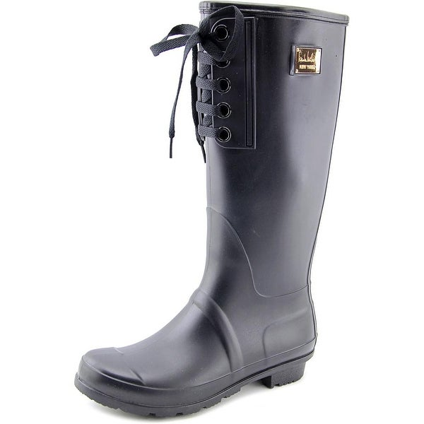 Nicole Miller New York Combat Women Round Toe Synthetic Black Rain Boot