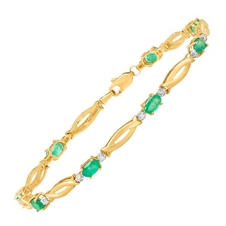 1 7/8 ct Emerald Bracelet with Diamonds in 10K Gold - Green
