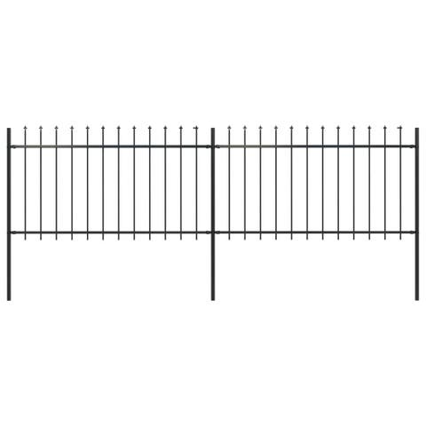 "vidaXL Garden Fence with Spear Top Steel 133.9""x39.4"" Black"