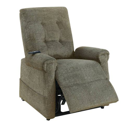 41 Inch Fabric Power Recliner with Tufted Backrest, Brown