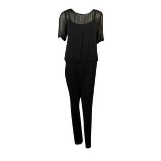 Calvin Klein Women's Sheer Top Pleated Jumpsuit - Black - 12