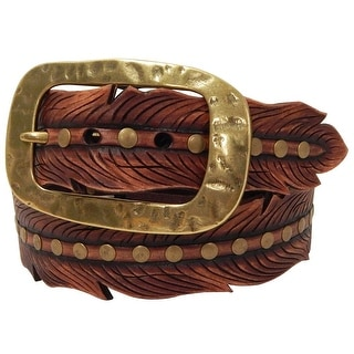 Roper Western Belt Womens Hand Tooled Leaf Shape Gingerbread 8816790