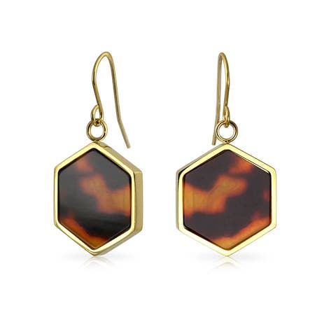 Hexagon Shaped Brown Tortoise Shell Dangle Drop Earrings For Women 14K Gold Plated Stainless Steel