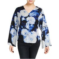 Calvin Klein Womens Plus Button-Down Top Floral Print Bell Sleeve