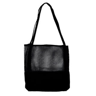 Traveling Beach Sundries Storage Hollow Design Shoulder Canvas Tote Bag Black