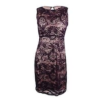 Nightway Women's Petite Sequined Lace Sheath Dress - plum/nude