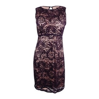 Nightway Women's Petite Sequined Lace Sheath Dress - plum/nude