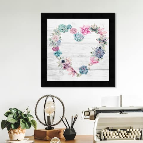Oliver Gal 'Succulent Love' Floral and Botanical Framed Wall Art Prints Florals - Pink, Blue