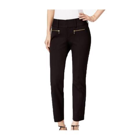 INC International Concepts Women's Black Zip-Pocket Crop Pants (12P) - 12P