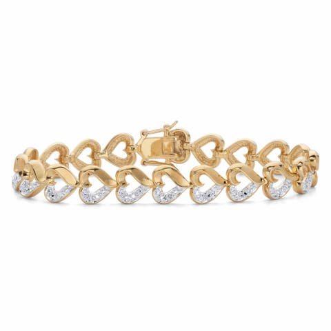 Gold Plated Heart Link Genuine Diamond Accent Bracelet, 7.25 inches